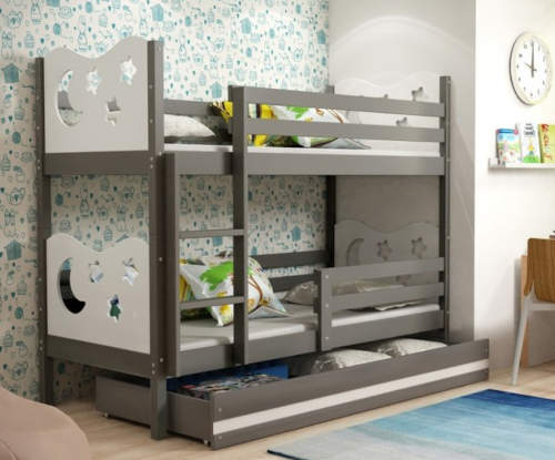 Levná patrová postel s úložným prostorem včetně 2x matrace a 2x roštu