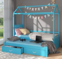 Modrá dětská postel domeček 90x200 cm