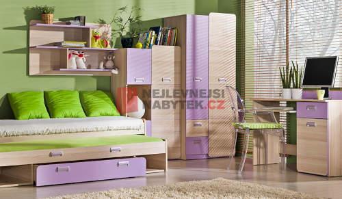 Nábytek do dětského pokoje kombinace dřevo a fialová barva