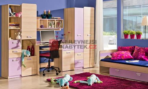 Skříně do dětského pokoje kombinace dřevo dekor jasan a růžová
