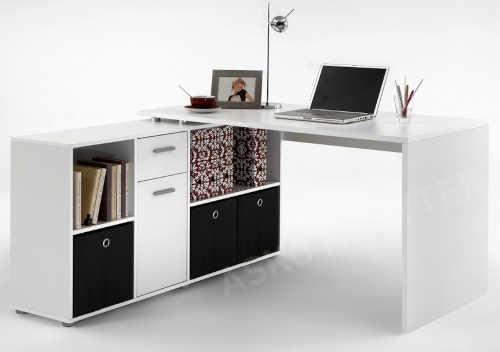 Bílý psací stůl s praktickým regálem