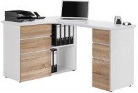 Rohový psací stůl v dekoru dub sonoma/bílá