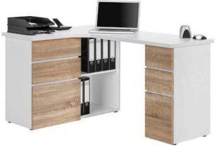 Rohový psací stůl v dekoru dub sonoma-bílá